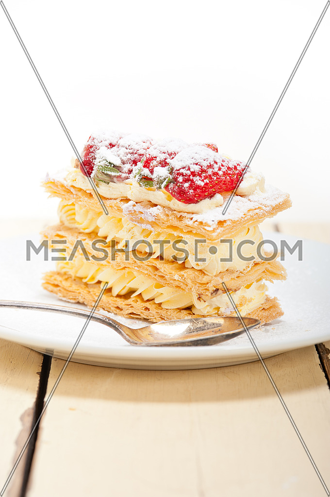 fresh baked napoleon strawberry and cream cake dessert
