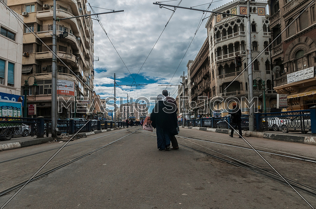 Long shot for Trams moving at Alexandria at Day