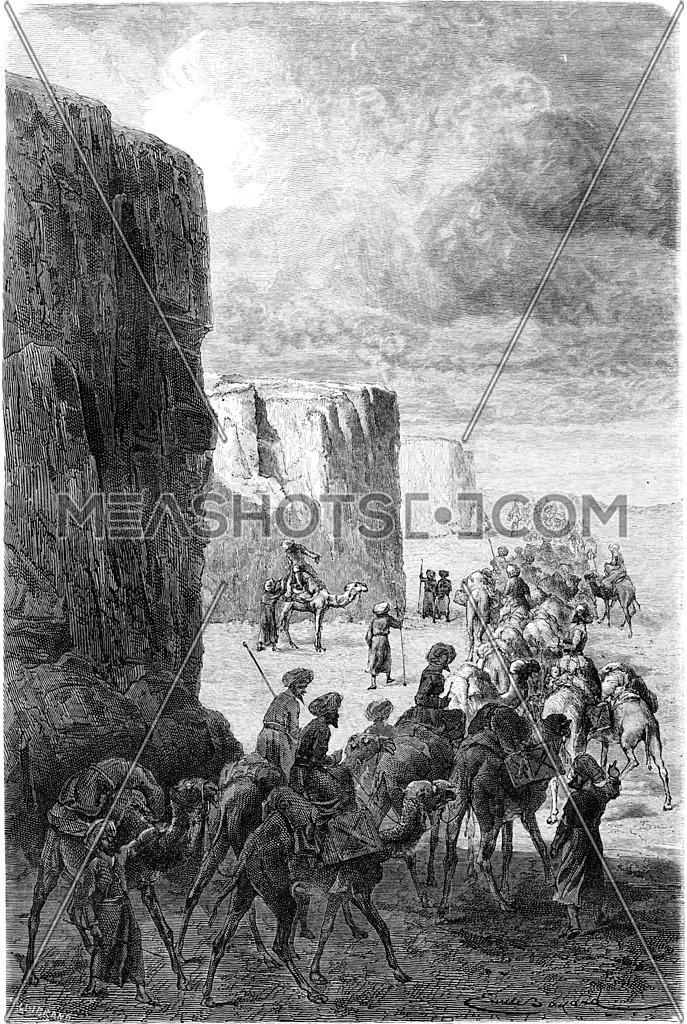 The caravan of Hajjis in Korantaghi, vintage engraved illustration. Le Tour du Monde, Travel Journal, (1865).