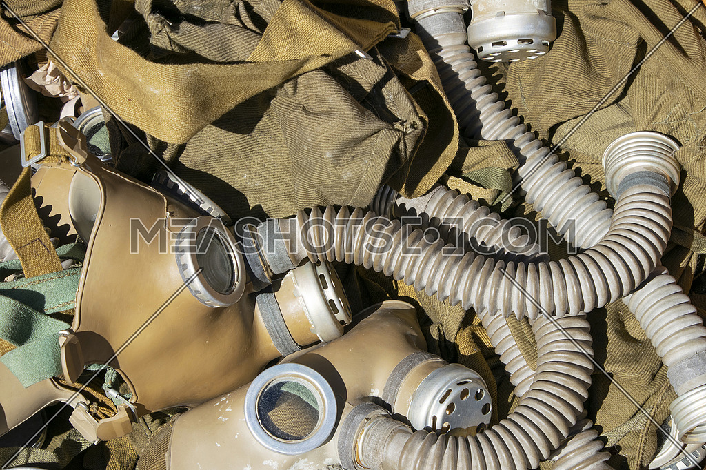 Close up background of old vintage protective gas respirator masks on retail display