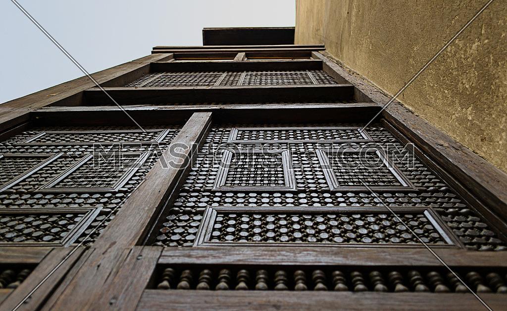 A bay (Mashrabiya) at Bayt Al-Suhaymi, an old Ottoman era house museum in Cairo, Egypt, built in 1648 by Abdel Wahab el Tablawy along the Darb al-Asfar, a very prestigious and expensive part of Medieval Cairo.