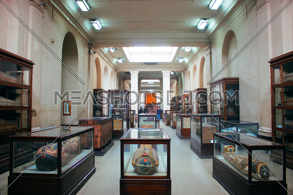 A hall in the Egyptian museum shows the statues
