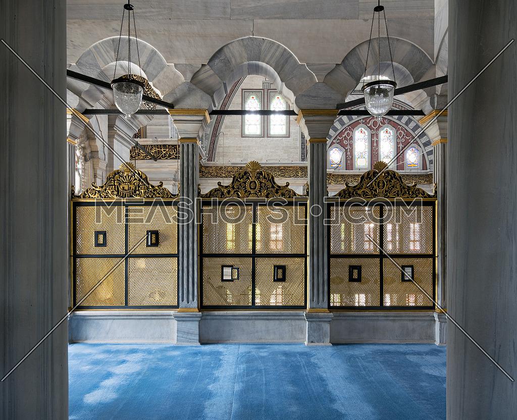 Three Gold Painted Decorated Interleaved Wooden Windows Mashrab 162938 Meashots