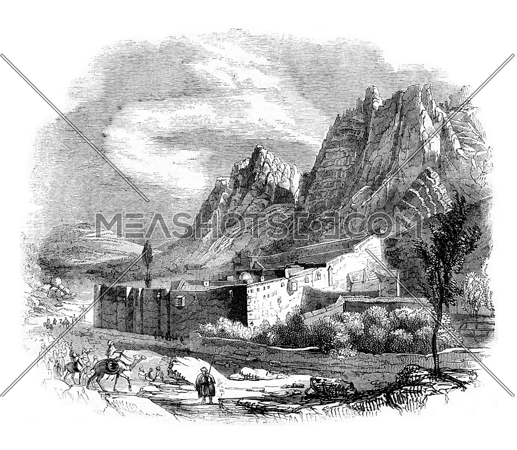 View of the Monastery of Saint Catherine on Mount Sinai, vintage engraved illustration. Magasin Pittoresque 1844.