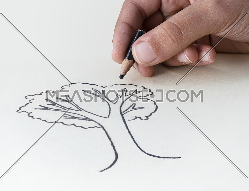 A child drawing a tree with a very short pencil stubΠin an attempt to express the concept of the conservation of the Earth's Resources
