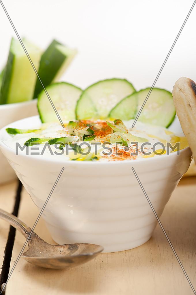 Arab middle east salatit laban wa kh'yar Khyar Bi Laban goat yogurt and cucumber salad