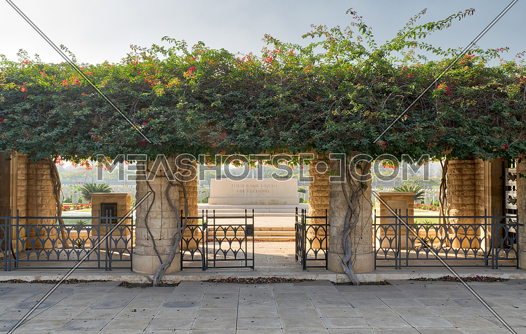 Cairo, Egypt - December 7, 2016: Entrance of Heliopolis Commonwealth War Cemetery with fence metal door, climber green plants