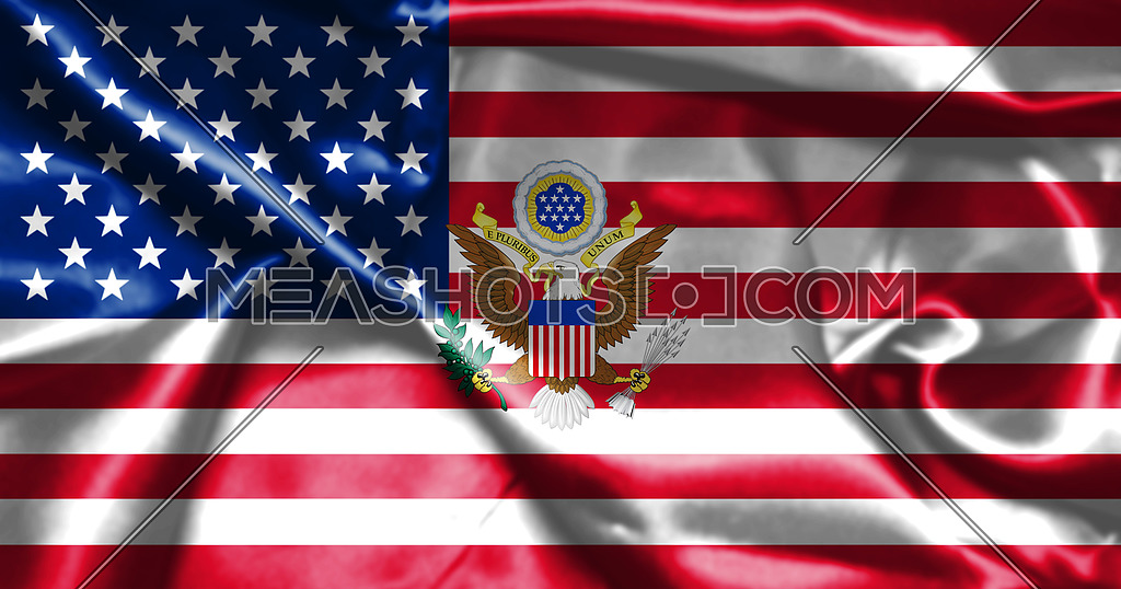 United States of America Flag With Eagle Coat Of Arms 3D