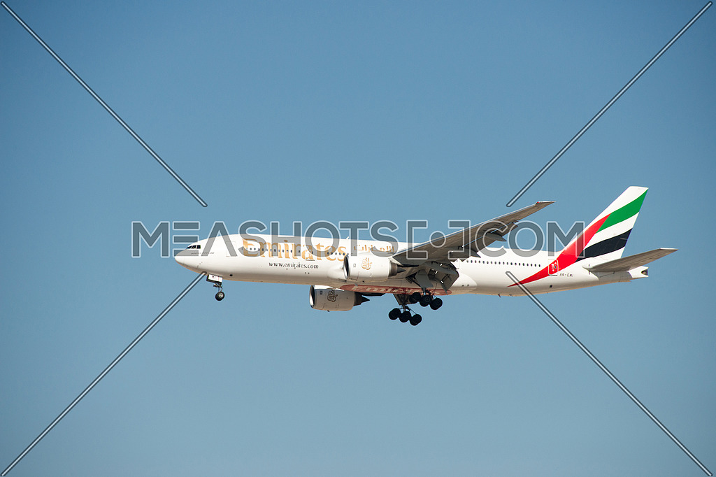 Emirates Airlines Boing 777-200 ER Airplane landing