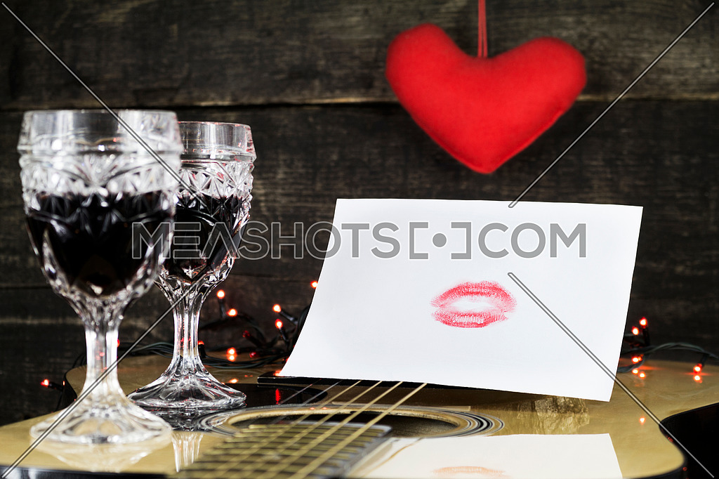 Happy Valentine's Day Kiss On White Paper Resting on