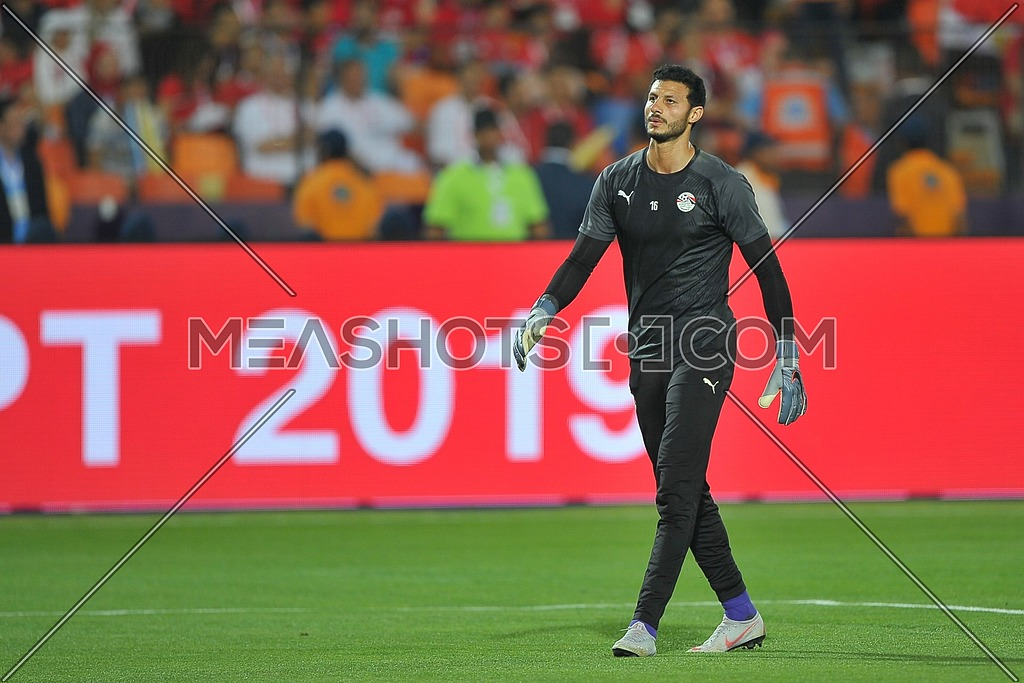 CAIRO, EGYPT - JUNE 21: Mohamed El Shennawy goalkeeper of egypt during the 2019 Africa Cup of Nations Group A match between Egypt and Zimbabwe at Cairo International Stadium on June 21, 2019 in Cairo, Egypt.