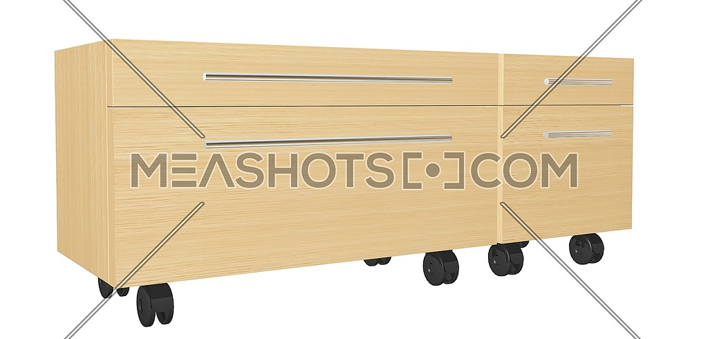 Bedroom dresser with drawers, on wheels, isolated against a white background