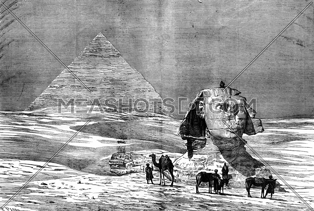 Through egypt. The Pyramids of Giza, vintage engraved illustration. Journal des Voyage, Travel Journal, (1880-81).