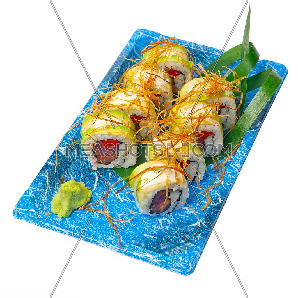 take away selection of fresh sushi express on plastic tray