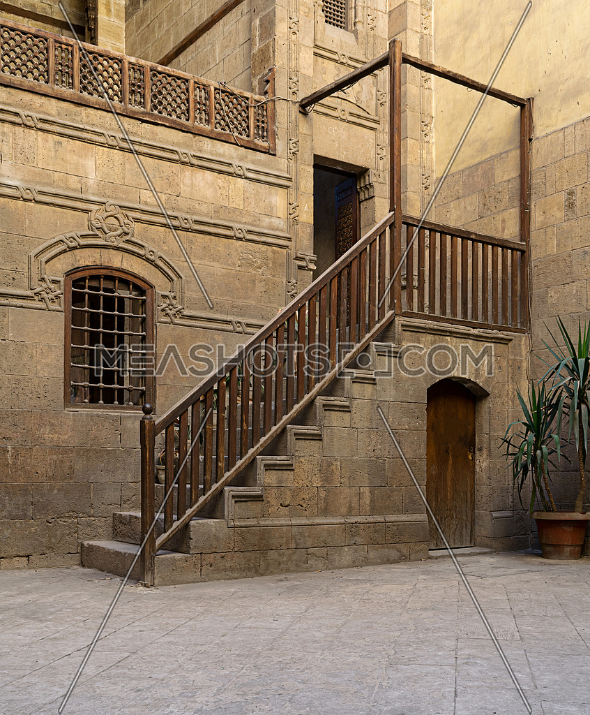 Courtyard of Zeinab Khatoun house, a historic house in Old Cairo, Egypt. Zeinab Khatoun house is one of the most remarkable houses left nowadays