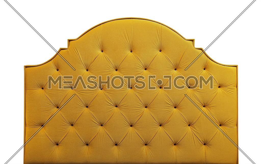 Yellow Velvet Bed Headboard Isolated On White 206709 Meashots