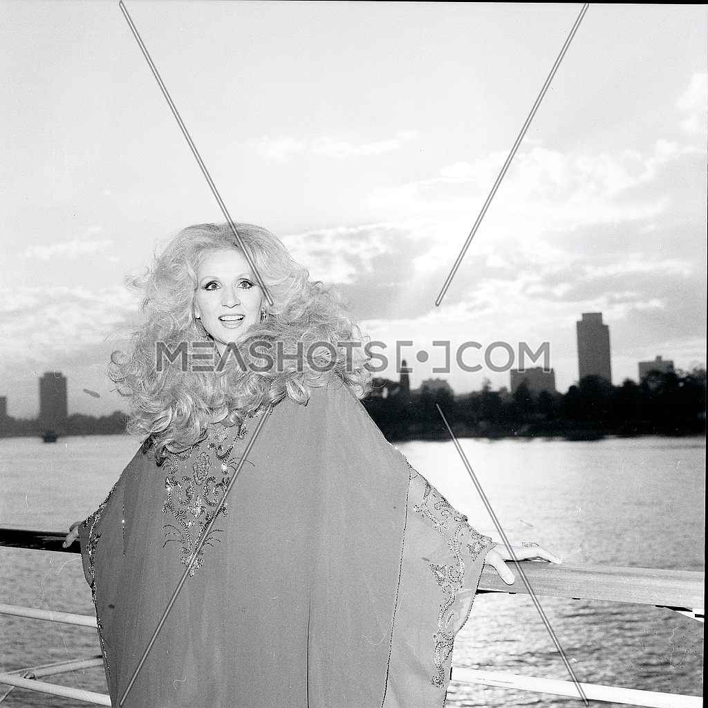 Lebanese super star singer Sabah during a photoshoot in Montazah Alexandria Egypt in October 1980 Date of Birth: 10 November 1927 Date of Death: 26 November 2014