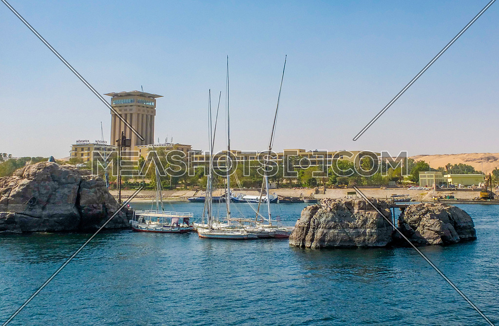 boats in the river nile in Aswan EGYPT