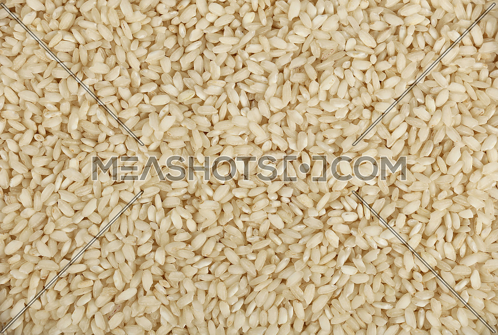 White Arborio Italian short grain rice close up pattern background, elevated top view