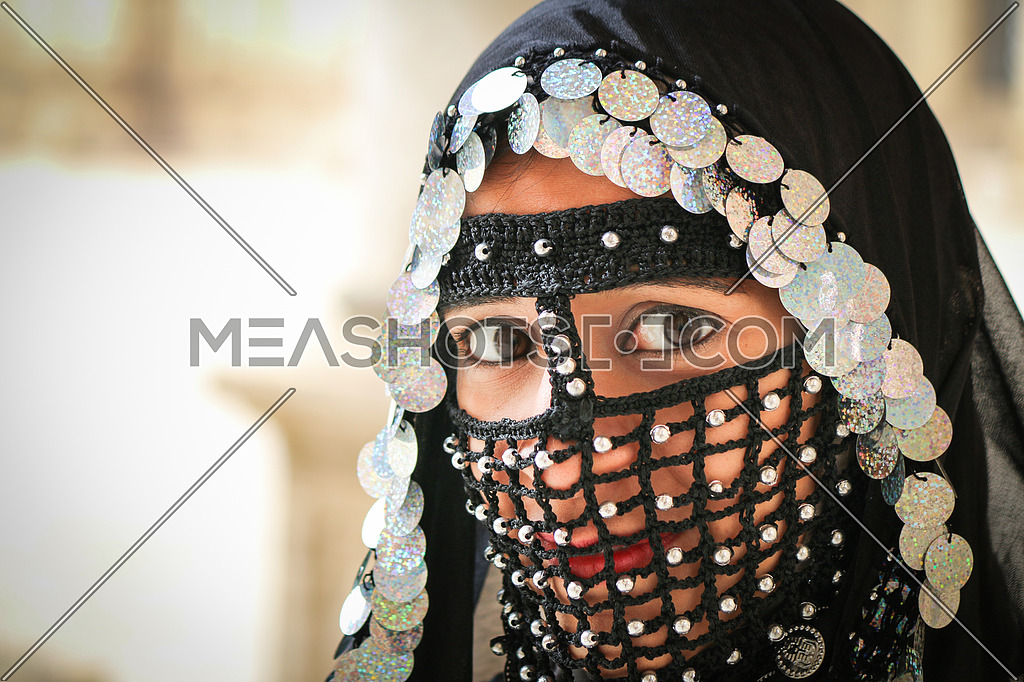 Girl wearing old Egyptian costumes - Mohamed Ali mosque - Old Cairo
