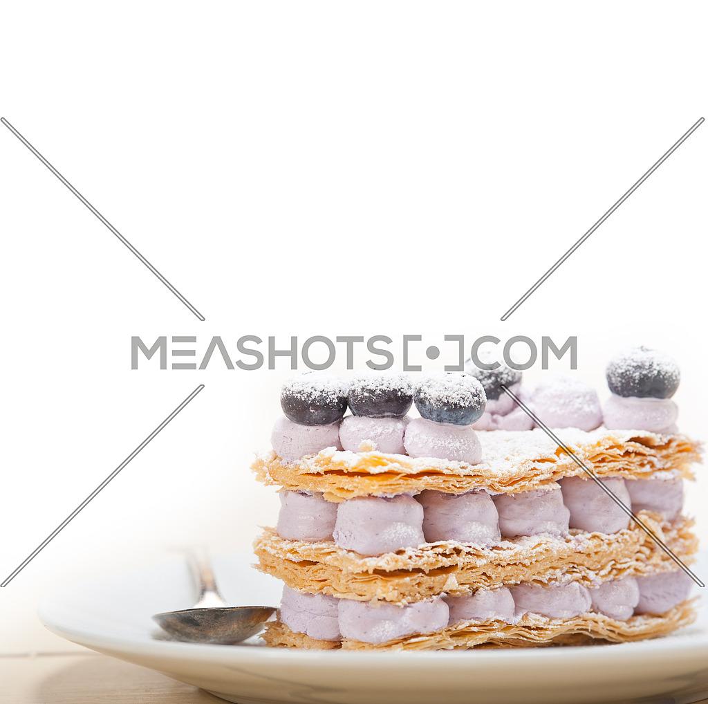 fresh baked napoleon blueberry and cream cake dessert