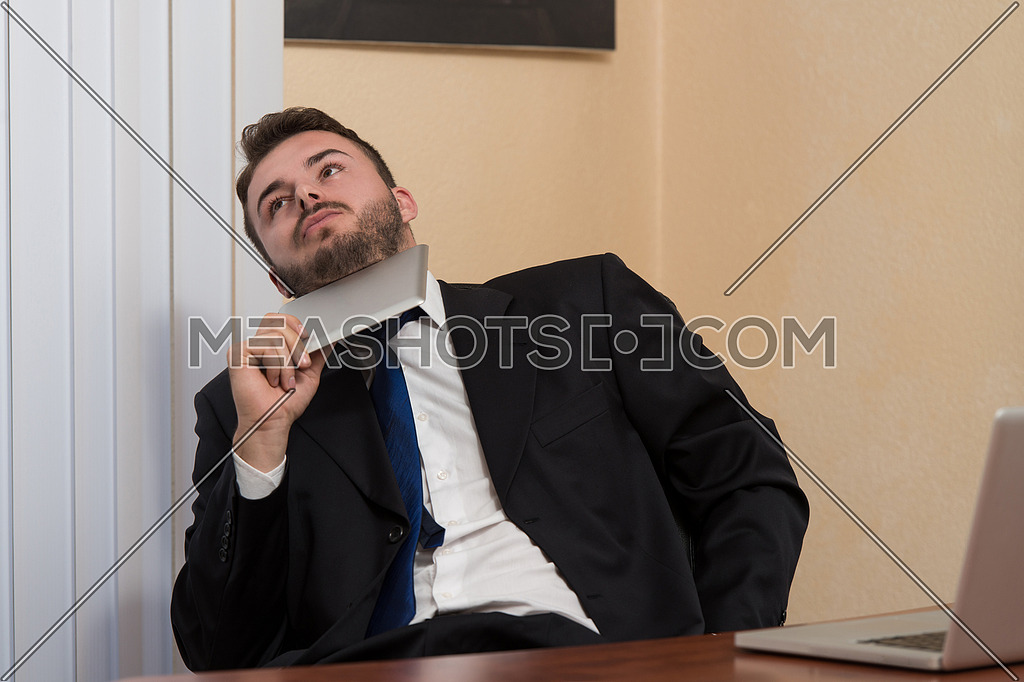 Happy Young Business Man Work In Modern Office On Computer