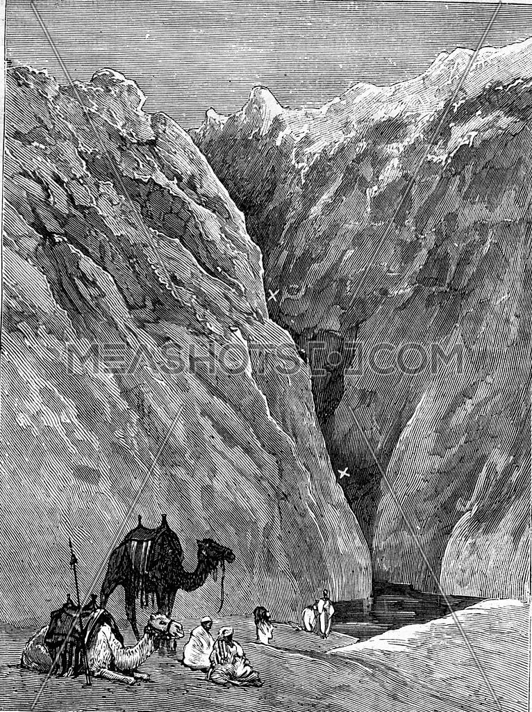 One of the wells of Gakdul in Sudan. From Travel Diaries, vintage engraving, 1884-85.