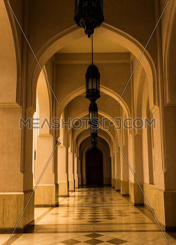 An exterior corridor in a Mosque