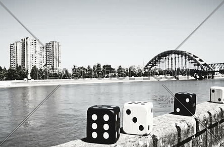 Video For Large Poker Dices Moving In Stop Motion Black And White