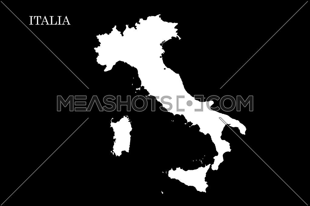 Map of Italy Isolated On Black Background illustration