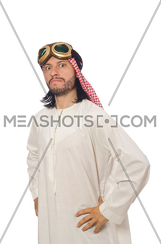Arab man wearing aviator glasses isolated on white