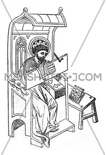 A writer in the fourteenth century, vintage engraved illustration. Magasin Pittoresque 1846.