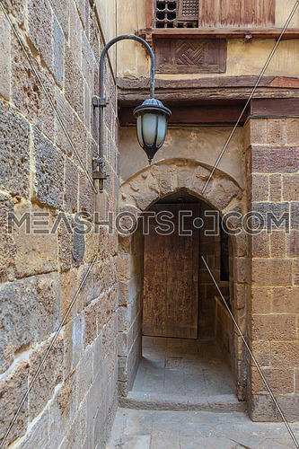 Entrance of historic Beit El Set Waseela building (Waseela Hanem House) leading to the courtyard of the house, Medieval Cairo, Egypt
