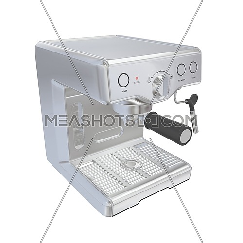 Stainless steel espresso coffee machine, 3D illustration, isolated against a white background