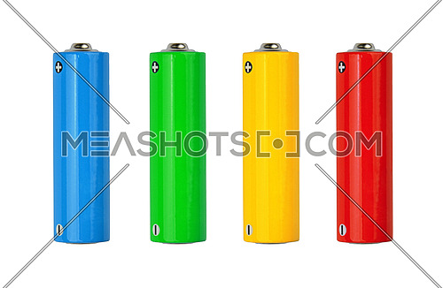Close up four blank vivid alkaline AA batteryies, yellow, green, blue, red, with copy space isolated on white background