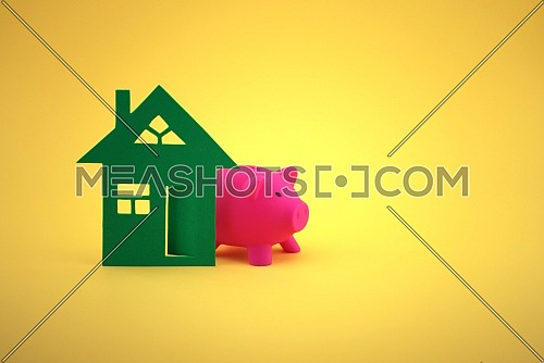 Property concept with house and piggy bank. Saving money to buy new house