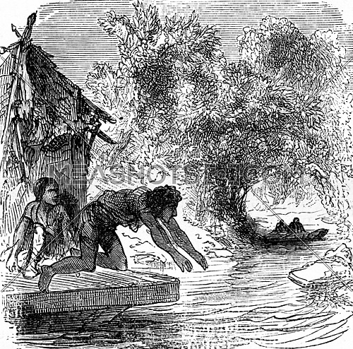 The dramas of India. The enemy of fugitives threw swimming, vintage engraved illustration. Journal des Voyage, Travel Journal, (1879-80).