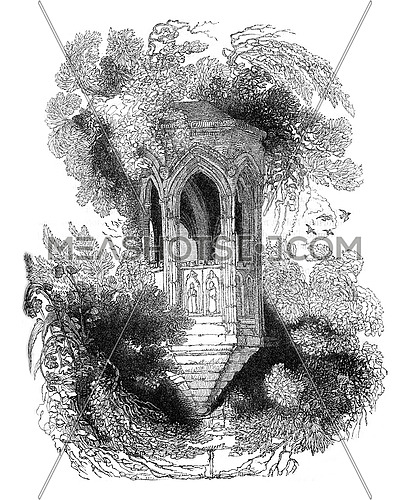 Ruins of a stone pulpit, located in the gardens of the Abbey Shrewsbury, Shropshire, vintage engraved illustration. Colorful History of England, 1837.