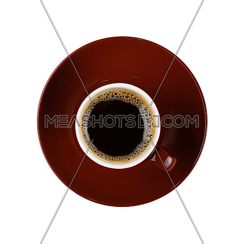 Full small brown ceramic espresso cup of black coffee with saucer isolated on white background, close up, elevated top view, directly above