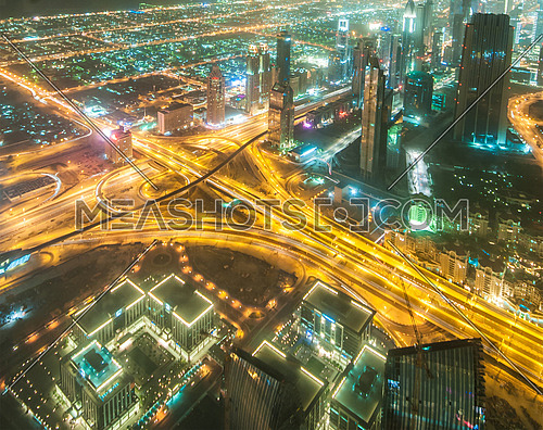 Dubai building at night illumination