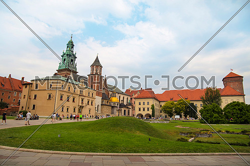 Front view of medieval Wawel Royal Castle and Cathedral, one of most popular tourist attractions and landmarks in Krakow, Poland