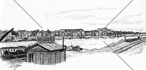 View from the harbor in Les Coches to the bridge of Bercy, vintage engraved illustration. Paris - Auguste VITU – 1890.