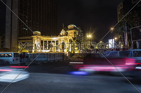 Fixed shot for traffic at Alexandria Naval Unknown Soldier Memorial at night
