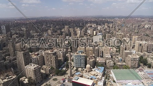 Aerial shot flying over Cairo Downtown empty streets during the corona pandemic lockdown by day 10 April 2020