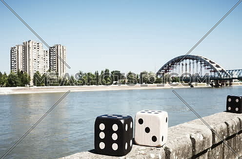 Large Poker Dices Moving In Stop Motion