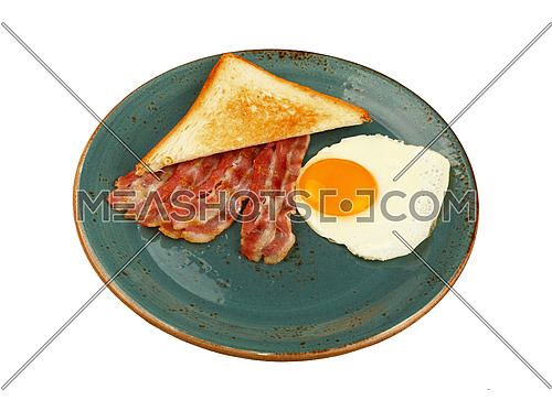 Close up English breakfast, sunny side egg, toasted bread and roasted bacon slices on blue plate isolated on white background, high angle view