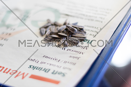 Sunflower seeds on a paper and blue tray