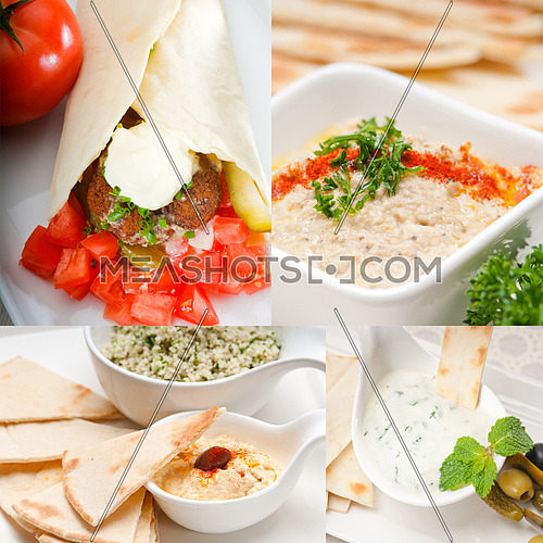 most popular Arab middle east food collection,hummus, falafel,mutabal,pita bread