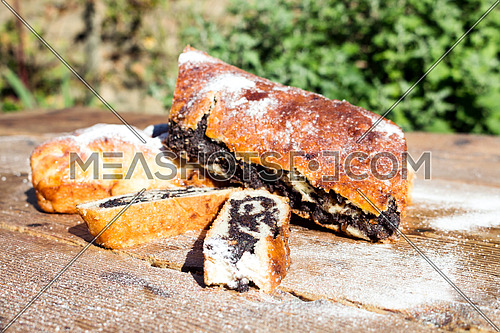 Strudel with poppy seeds on a Wooden Table All Sprinkled With Sugar Powder