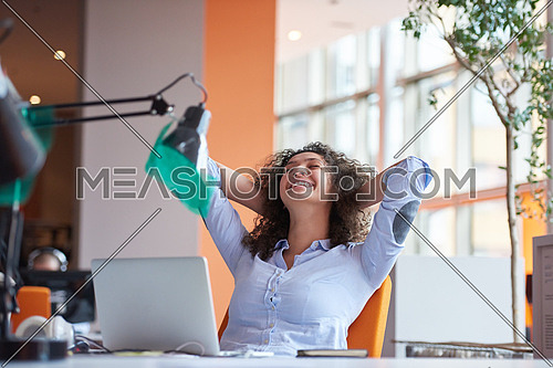 happy young  business woman with curly hairstyle in the modern office